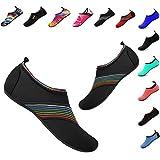 Men and Women Slip-On Water Shoes Lightweight Barefoot Quick-Dry Aqua Yoga Socks For Outdoor Beach Sports(XB/Black,38/39EU)