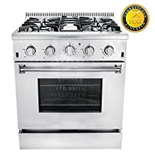 """Thor Kitchen HRG3080UU 30"""" Freestanding Professional Style Gas Range with 4.2 cu. ft. Oven, 4 Burners, Convection Fan, Cast Iron Grates,Blue Porcelain Oven in Stainless Steel"""