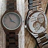 Wooden men's watch, personalized men's watch, engraved wood watch, picture engraved men's watch