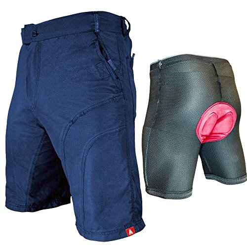 Urban Cycling Apparel The Pub Crawler - Men's Loose-Fit Bike Shorts For Commuter Cycling or Mountain Biking, With Secure Pockets (Large, Blue - With Premium Antibacterial G-TEX Padded - Apparel Bike