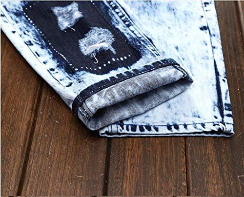 Ragazzo Distressed Cotone Originali Reality Jeans 166 Classic Hole Pantaloni Con Di Tide Marchio Corrispondenza Tinta Per A Denim Inchiostro Marca Unita Uomo Splash Aderenti Blau Toppe qFqpwCx