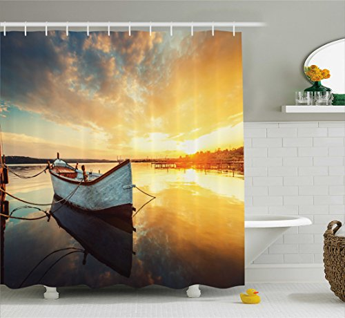 Ambesonne Lake House Decor Shower Curtain, Small Boat on Water with Horizon and Overcast Dramatic Sky Harbor Home, Fabric Bathroom Decor Set with Hooks, 70 Inches, Light Yellow