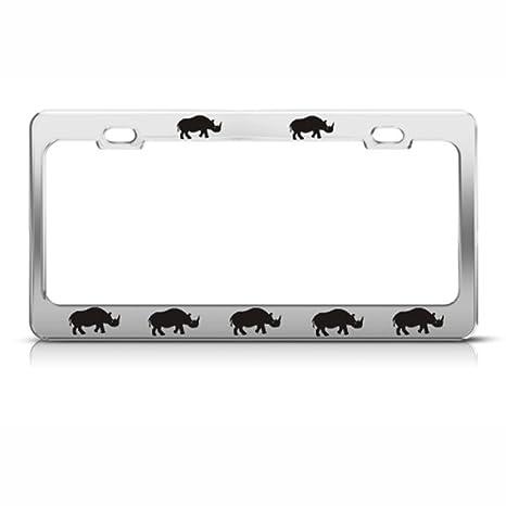 Speedy Pros Rhinoceros Rhino Rhinoceros License Plate Frame Stainless Metal  Tag Holder