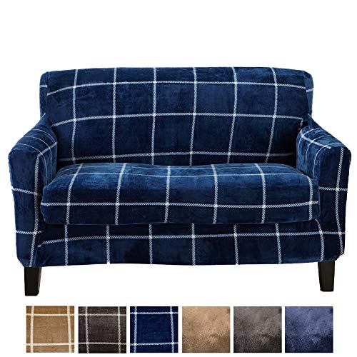 Great Bay Home 2 Piece Modern Velvet Plush Strapless Slipcover. Stretch Furniture Cover. Sorrento Collection (Loveseat, Navy) Collection 3 Seat Sofa