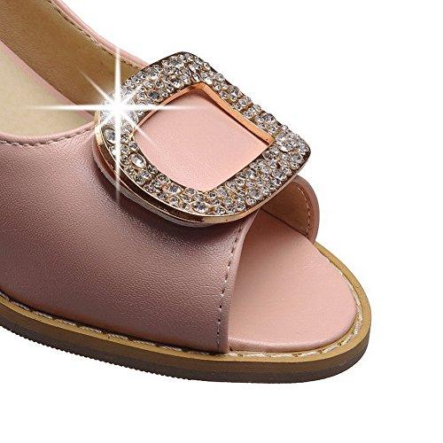 Allhqfashion Dames Peep Toe Kitten Hakken Zacht Materiaal Stevige Pull Op Sandalen Roze