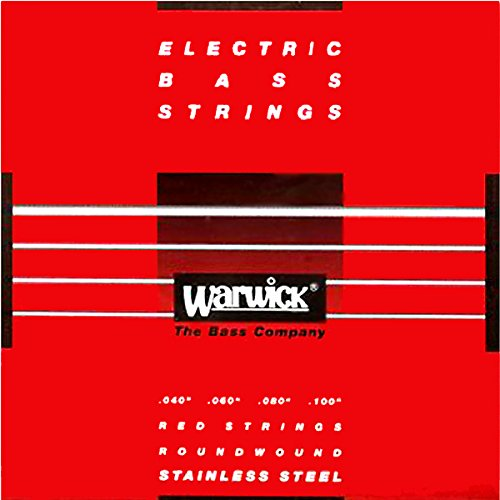 Warwick 42210 Label Stainless Wound Medium Light 4-String Bass Strings, Red