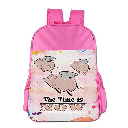 When Pigs Fly The Time Is Now Cute Boys And Girls School Bags, Child Bookbag School Backpacks For 4-15 Years Old