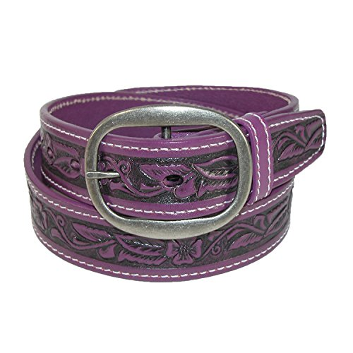 CTM Leather Western Embossed Belt with Removable Buckle, 40, - Belt Center Jean Bar