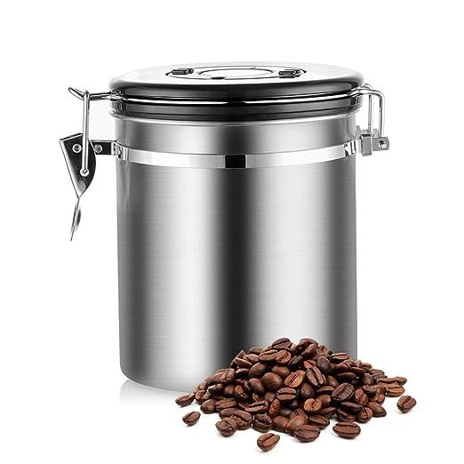 Litthing Tarro de Caf/é Acero Inoxidable Perfecto para Evitar de Oxidar el Caf/é Herm/ética para la Lonservaci/ón del caf/é y Conservar el Aroma del Caf/é Incluye un Esfera de Fecha