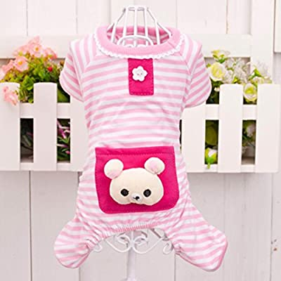 Puppy Clothes,Haoricu Small Pet Stripes Pajamas Jumpsuits Coat Apparel Clothing