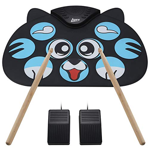 Lujex Portable Electronic Drum,9 Keys Electric Drum Pad Foldable Roll Up Portable Drum Practice Best Birthday and Christmas Gift for Kids (No Speaker and Battery)