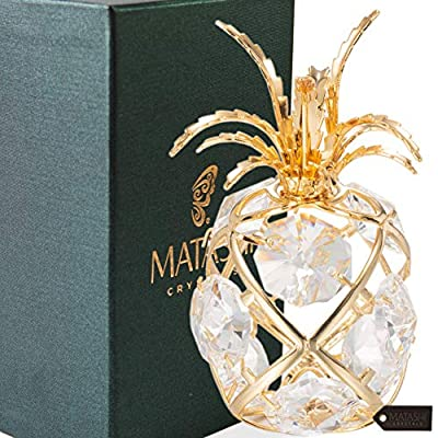 Matashi 24K Gold or Silver Plated Crystal Studded Fruit Ornament with Crystals