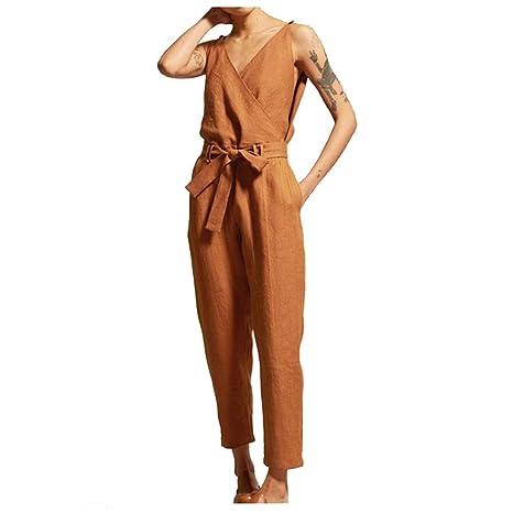 Jackcer Trajes 2019 Monos para Mujer Moda de Lino Pantalon ...