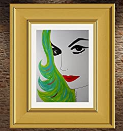 MARIA FELIX : ULTIMATE DIVA :: Abstract POP Modern ART Style - Acrylic Original Painting on White Paper - SIZE:11\