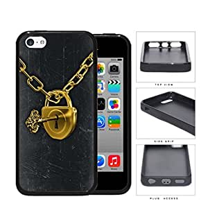 Gold Padlock And Key Chain Rubber Silicone TPU Cell Phone Case Apple iPhone 5c