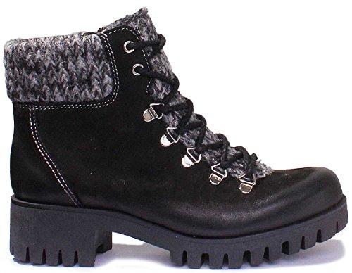 Sara Justin Matt Black Leather Women Black Boots Hiker Reece 6gw61