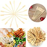Ochoos Camping Outdoor Picnic & BBQ - Tableware & Hardware - 100Pcs 12cm Flat Bamboo Skewers Sticks Wooden Picnic BBQ Kebab Meat Fruit Fountain Buffet