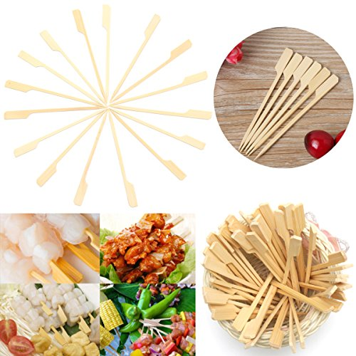 Ochoos Camping Outdoor Picnic & BBQ - Tableware & Hardware - 100Pcs 12cm Flat Bamboo Skewers Sticks Wooden Picnic BBQ Kebab Meat Fruit Fountain Buffet by Ochoos Camping