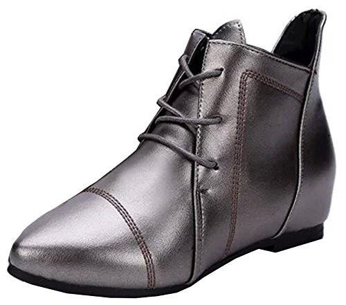 Chunky Womens Low Short Silver Boots Up Idifu Lace Toe With Heel Comfy Pointed fdpqvw