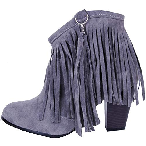 Grey Boots On Pull Coolcept High Classic Fringe Women Heel Cn4wR8Pq