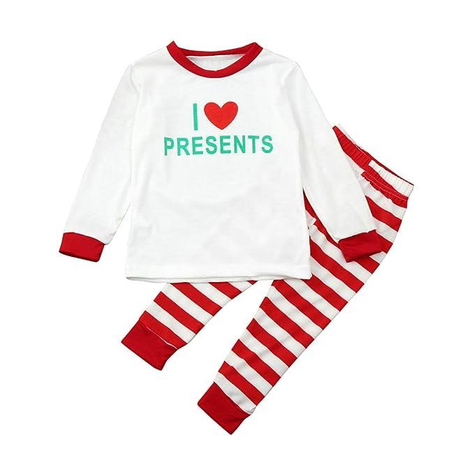 Hzjundasi Conjunto Pijamas Familia Navidad - Otoño Invierno Mujer Hombres Niños Navidad Ropa de Dormir Trajes