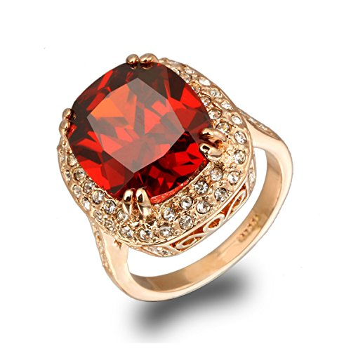 LAMOON Ruby Ring For Women Engagement Big Zircon CZ Stone 18KGP Vintage Statement Rings (R199, 8)