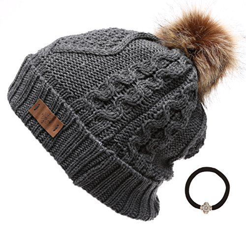 Knitted Beanie Hat Pattern (Women's Winter Fleece Lined Cable Knitted Pom Pom Beanie Hat with MIRMARU Hair Tie.(Charcoal))