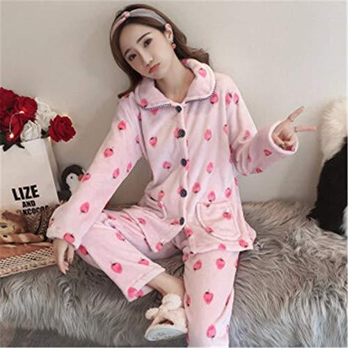 Franela Xxl Cardigan Larga Baijuxing Invierno Engrosamiento A Domicilio Servicio Manga Pijamas Estudiante Coral Terciopelo Traje E Pantalones De Otoño Mujer Cálido YqwZTRqnAx