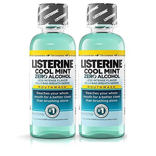 Listerine Cool Mint Zero Alcohol Mouthwash, Travel Size 3.2 Ounces (95ml) - Pack of 2