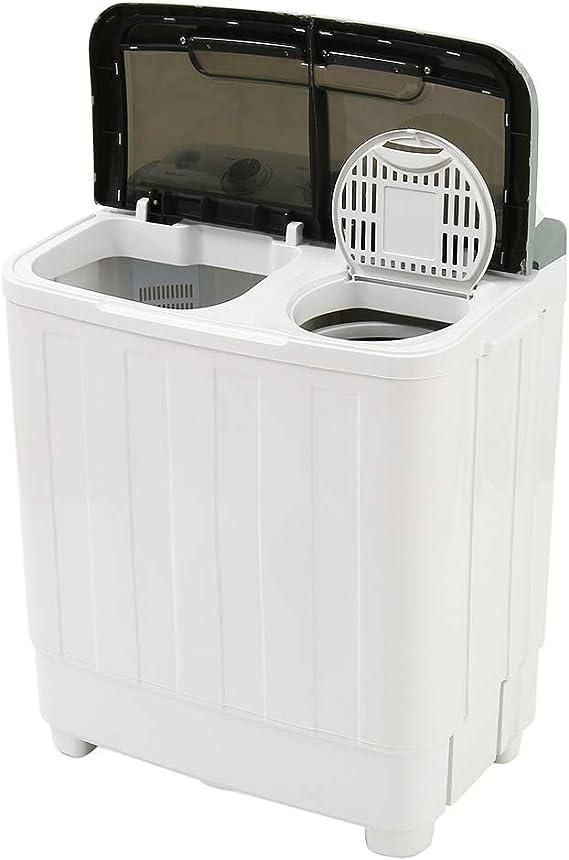 ZhongYeYuanDianZiKeJi Lavadora Doble Tambores para Acampar lavarropas para Solteros o Estudiantes 2 Colores Puede Elegir (Negro): Amazon.es