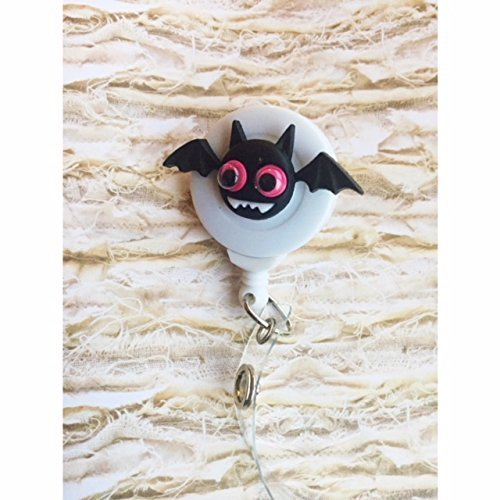 Halloween Bat googly eyed spring clip Badge ID holder with retractable reel
