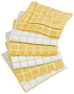 """DII Cotton Terry Windowpane Dish Cloths, 12 x 12"""" Set of 6, Machine Washable and Ultra Absorbent Kitchen Bar Towels"""