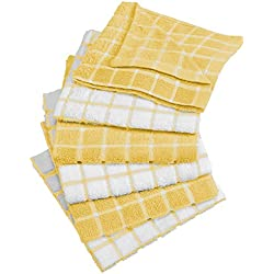 "DII Cotton Terry Windowpane Dish Cloths, 12 x 12"" Set of 6, Machine Washable and Ultra Absorbent Kitchen Dishcloth-Yellow"