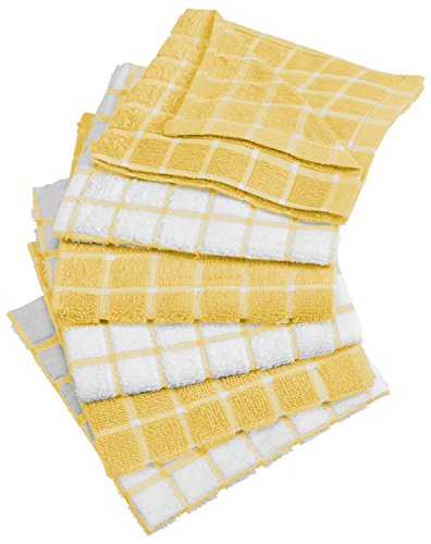 DII Windowpane Washable Absorbent Towels Yellow