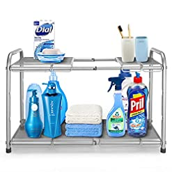 Kitchen Simple Trending 2-Tier Under Sink Expandable Cabinet Shelf Organizer Rack with 8 Removable Panels for Kitchen Bathroom… under-sink organizers