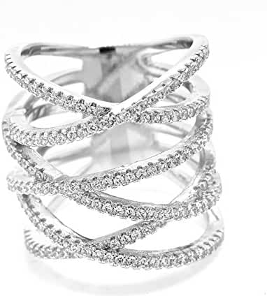 White Gold Plated Multi Row Pave Cubic Zirconia Criss Cross