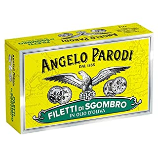 Angelo Parodi Mackerel Fillets in Pure Olive Oil   4 Pack   Imported from Italy   Wild Caught   Hand Selected   Gourmet All Natural   Premium Fish in 4.40 oz Can (125 Gram)