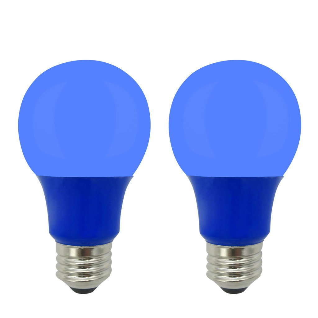 LED A19 Colored Light Bulb, 5W, (40W Equivalent), E26 Medium Base, 120V, UL Listed, Blue (2 Pack)