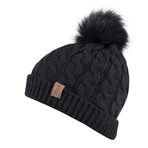 Kids Winter Warm Fleece Lined Hat, Baby Toddler Children's Beanie Pom Pom Knit Cap for Girls and Boys by REDESS (Black) by REDESS (Image #1)