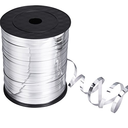 Ribbon Metallic (Shappy Metallic Curling Ribbon Balloon Ribbons for Crafts and Gift Wrapping (Silver, 500 Yards))