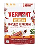 Vermont Smoke & Cure Mini Jerky Stick Go Pack, Turkey, Antibiotic Free, Gluten Free, Uncured Pepperoni, Great Keto Snack, High in Protein, Low Sugar, 0.5oz Stick, 6 Count