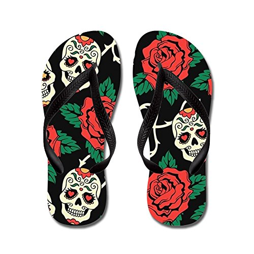 CafePress Skulls and Roses - Flip Flops, Funny Thong Sandals, Beach Sandals