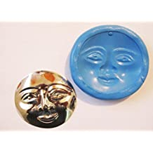 Moonface Face Flexible Food Grade Silicone Push Mold for Polymer Clay, Resin,wax,miniature Food,sweets,plaster
