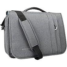 KROSER Briefcase Laptop Messenger Bag 16 inch Laptop Bag Water-Repellent Flapover Computer Case Business Shoulder Briefcase with RFID Pockets for Business/College/Men/Women - LightGrey