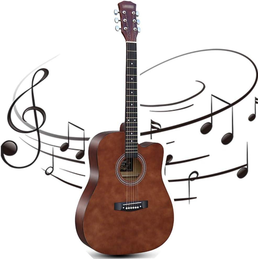YJFENG-Guitarra Acústica, 41 Pulgadas Viejo árbol Estructura De Haz De Sonido Mejorada Estabilidad De Resonancia Sonido Brillante Juerga Guitarra Acústica De Entrada (Color : Brown, Size : 105cm)