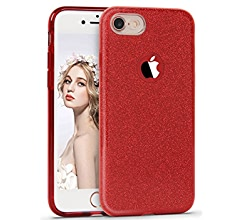 iPhone 8 Case Red 2017 Imikoko Bling Bling Glitter Glitzy Sparkle Designer Case Fashion Style Slim Shockproof Protective Case for Apple iPhone 8