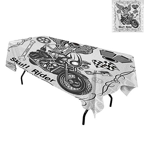 Motorcycle,Waterproof/Oil Proof/Stain Resistant Table Cover,Evil Hipster Dead Skull Skeleton Motorbike Rider Wings Drive to Hell Humor Image,Tablecloths Extra Long,W70 x L120 Inch Grey Black ()