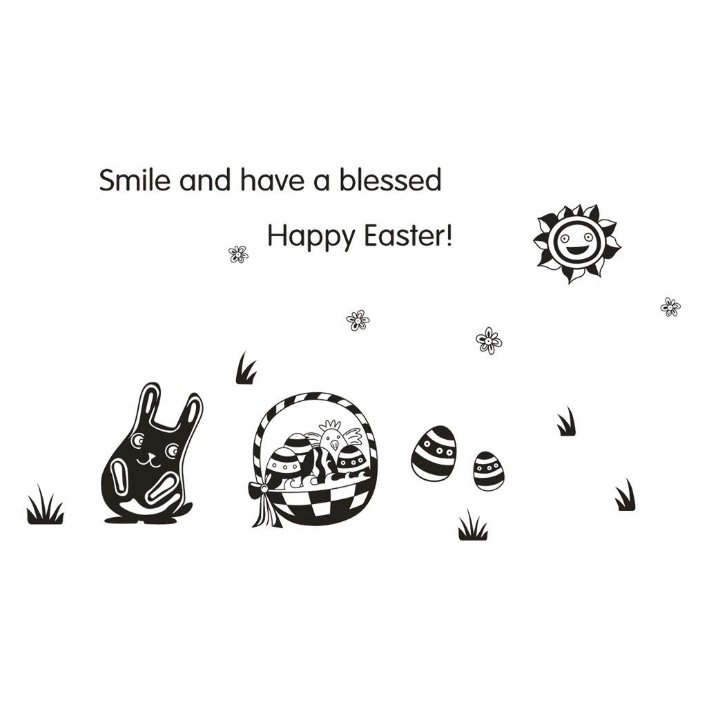 Cyhulu Creative Window Wall Decal, Fashion Happy Easter Rabbit Egg 3D Mural Vinyl Wall Stickers for Bedroom Living Room Home Office Wall Art Decoration