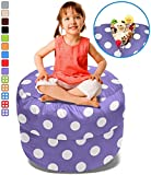 BeanBob Stuffed Animal Storage Bean Bag Chair in Purple w/ Polka Dots – 2.5ft Large Fill & Chill Space Saving Toy Organizer for Children – For Blankets, Teddy Bears, Clothes & Bedding