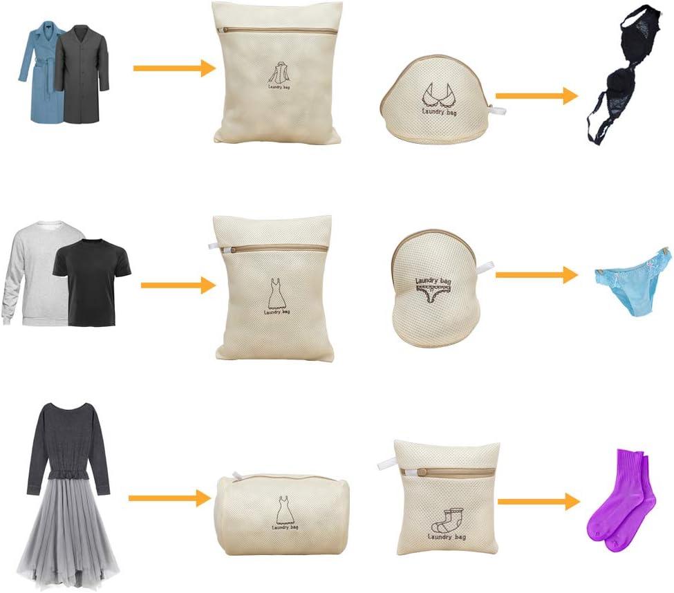 Lavar Prendas delicadas 6 Unidades Kakusiga Bolsas de Malla para la Colada Bolsas de Lavado de Ropa para la Colada con Cremallera Premium Bolsa organizadora de Viaje
